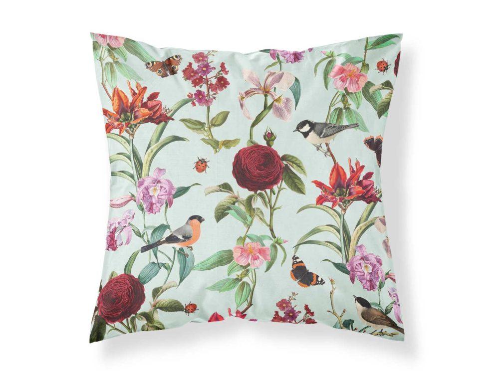 Kissenbezug von MALUU, Motiv Floral Birds, Maße 45 x 45 cm