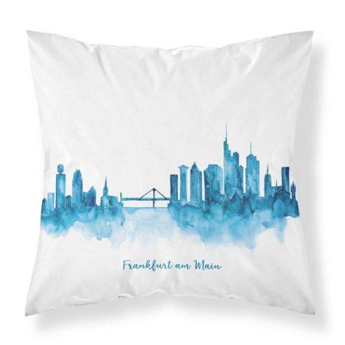 Kissenbezug von MALUU, Motiv Frankfurt Skyline blau, Maße 45 x 45 cm
