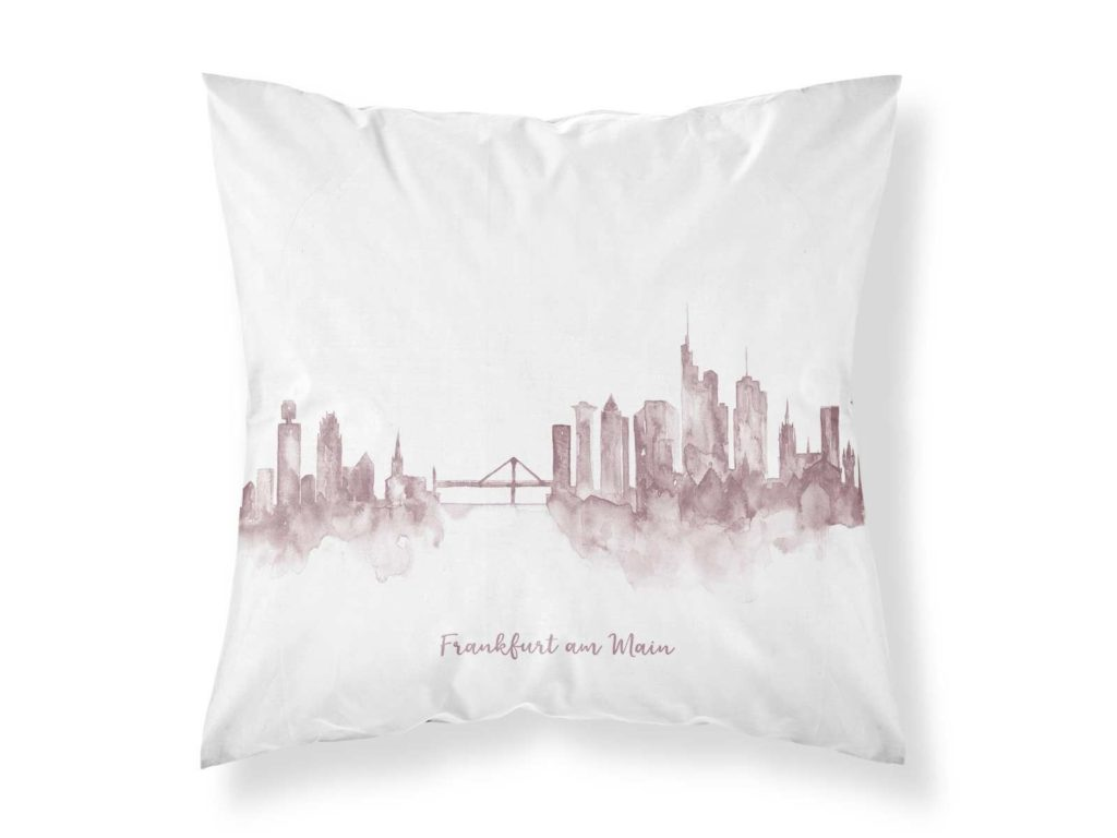 Kissenbezug von MALUU, Motiv Frankfurt Skyline rosé, Maße 45 x 45 cm