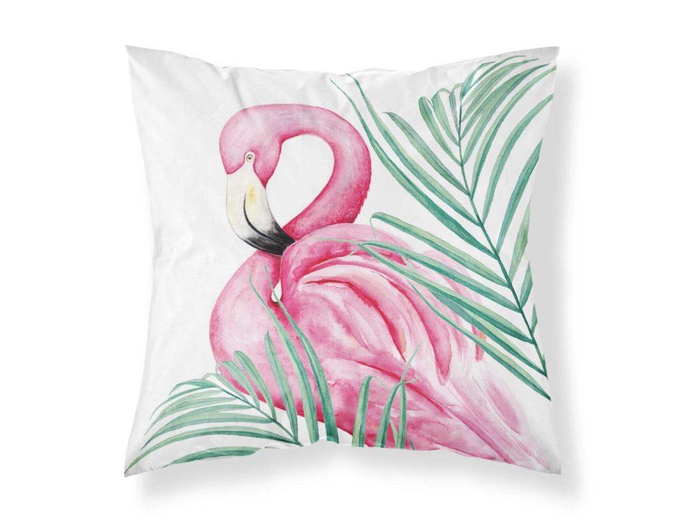 Kissenbezug von MALUU, Motiv Flamingo, Maße 45 x 45 cm