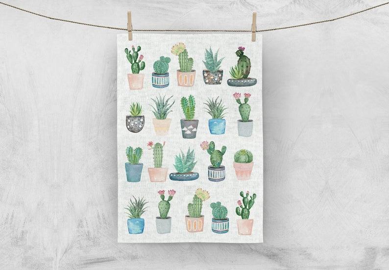 MALUU Geschirrtuch, 100% Baumwoll, Motiv Kakteen Kaktus