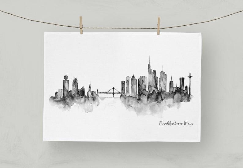 MALUU Geschirrtuch, 100% Baumwoll, Motiv Frankfurt Skyline schwarz