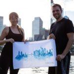 Christine und Mate mit MALUU Geschirrtuch, 100% Baumwoll, Motiv Frankfurt Skyline blaue
