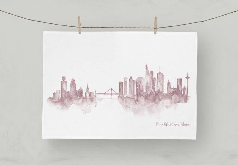 MALUU Geschirrtuch, 100% Baumwoll, Motiv Frankfurt Skyline rose