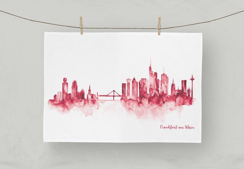 MALUU Geschirrtuch, 100% Baumwoll, Motiv Frankfurt Skyline rot