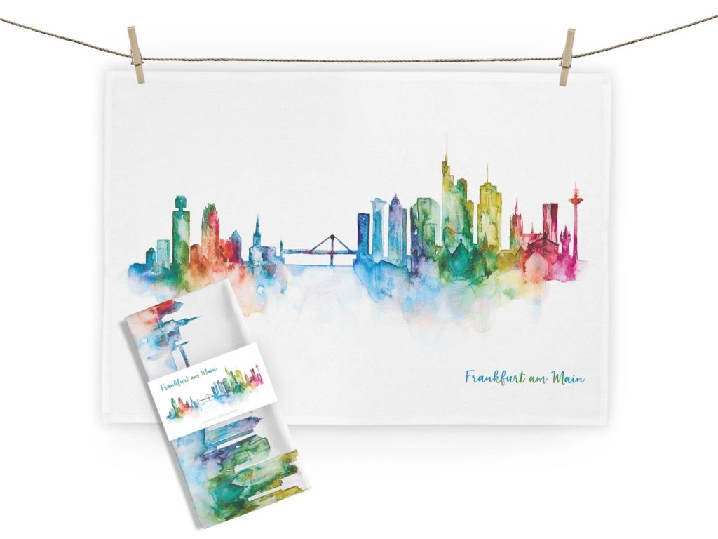 MALUU Geschirrtuch, 100% Baumwoll, Motiv Frankfurt rainbow