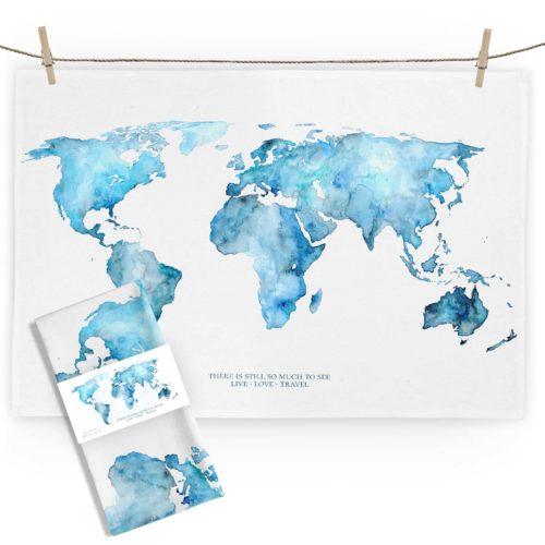 MALUU Geschirrtuch, 100% Baumwoll, Motiv Weltkarte blau