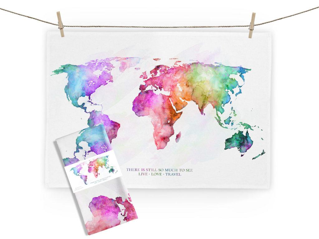 MALUU Geschirrtuch, 100% Baumwoll, Motiv Weltkarte rainbow