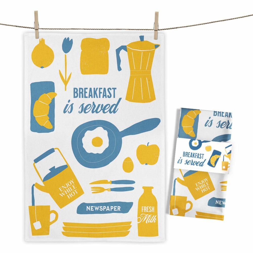 MALUU Geschirrtuch, 100% Baumwoll, Motiv Breakfast