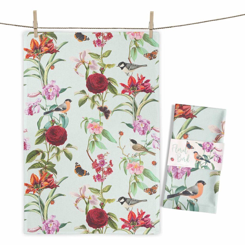 MALUU Geschirrtuch, 100% Baumwoll, Motiv Floral Birds