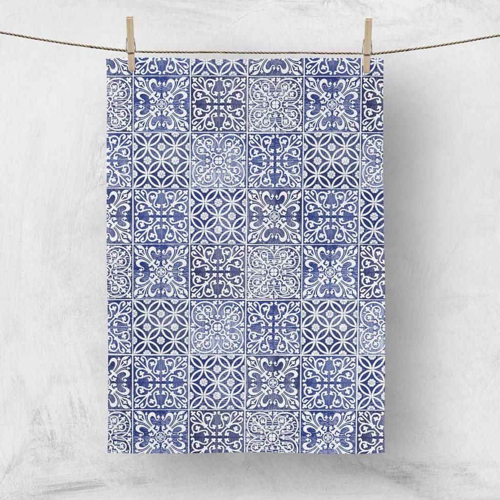 MALUU Geschirrtuch, 100% Baumwoll, Motiv Kitchen Classic blau