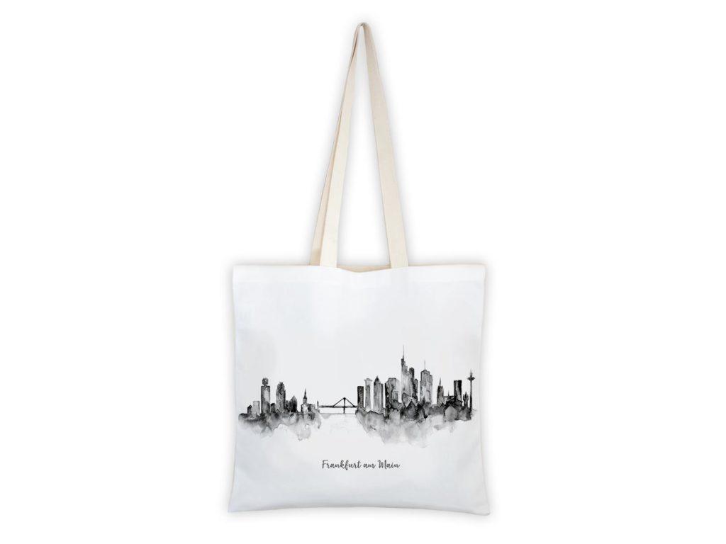 MALUU Shopping Bag Baumwolle, Motiv Frankfurt Skyline schwarz