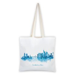 MALUU Shopping Bag Baumwolle, Motiv Frankfurt Skyline blau