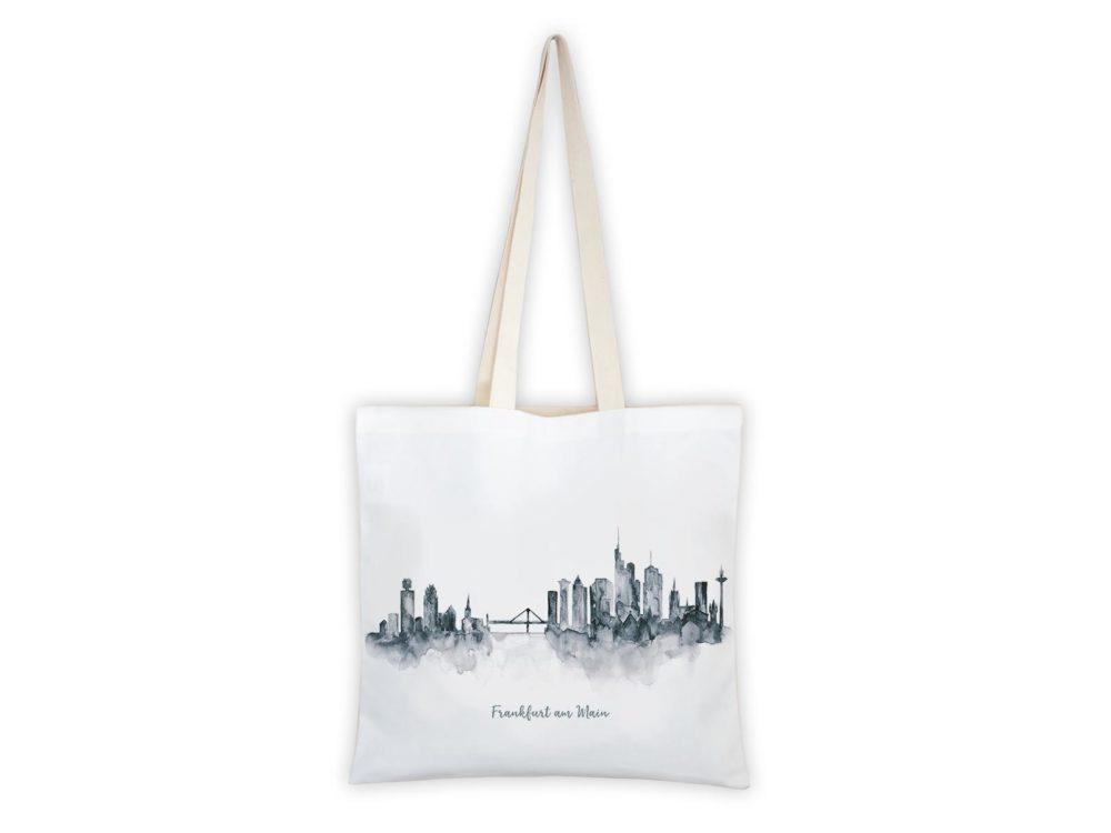 MALUU Shopping Bag Baumwolle, Motiv Frankfurt Skyline grau