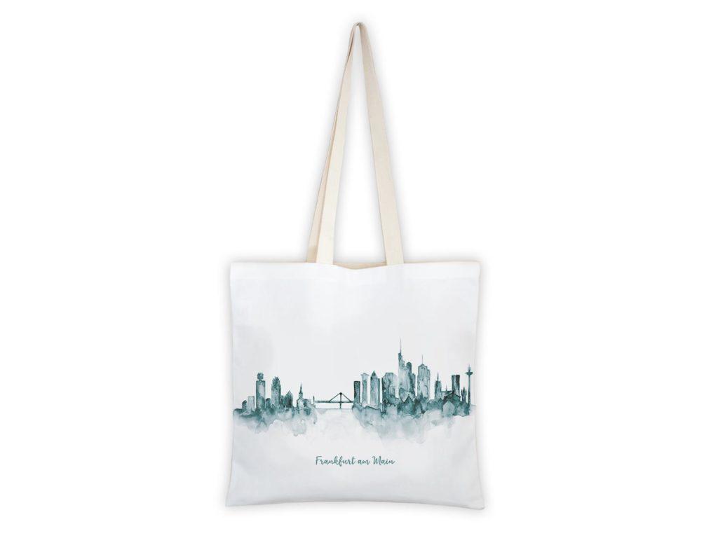 MALUU Shopping Bag Baumwolle, Motiv Frankfurt Skyline petrol