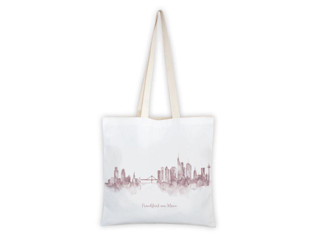 MALUU Shopping Bag Baumwolle, Motiv Frankfurt Skyline rosé