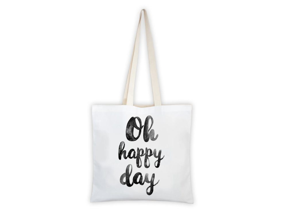 MALUU Shopping Bag Baumwolle, Motiv Oh happy day