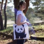MALUU Shopping Bag Baumwolle, Motiv Panda, outdoor