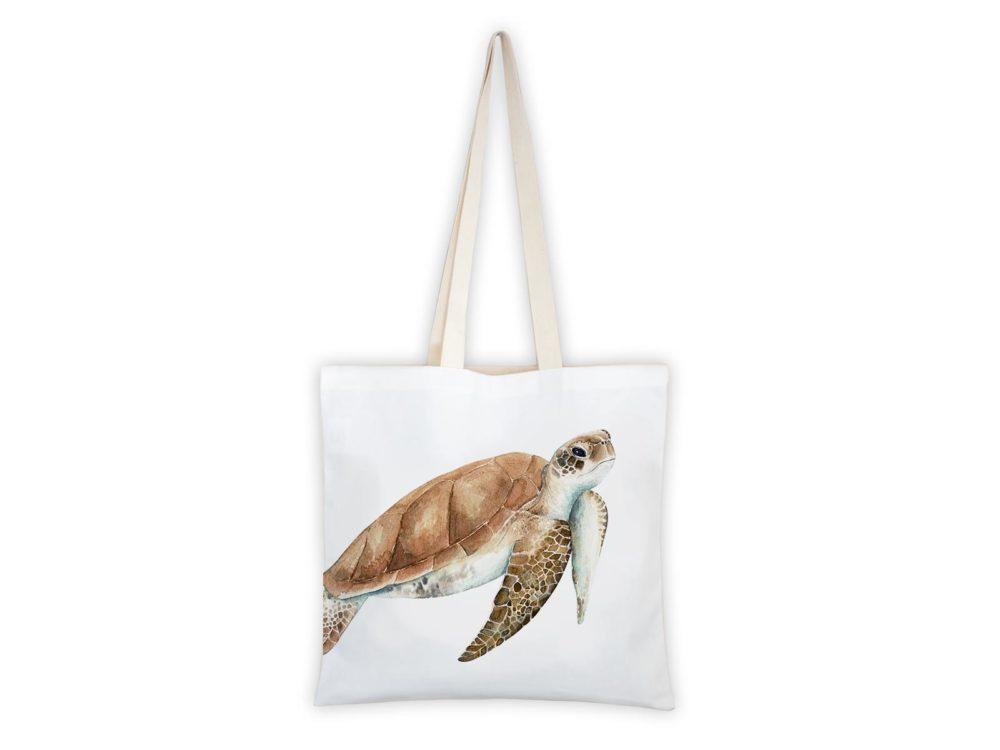 MALUU Shopping Bag Baumwolle, Motiv Meeresschildkröte
