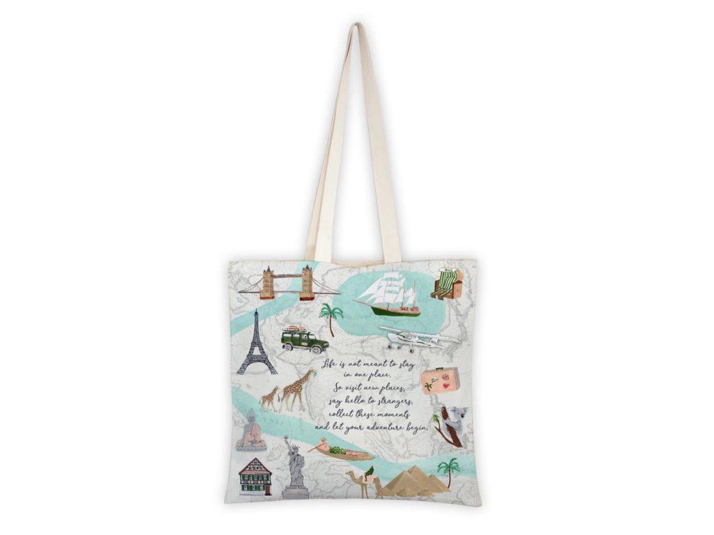 MALUU Shopping Bag Baumwolle, Motiv Travel