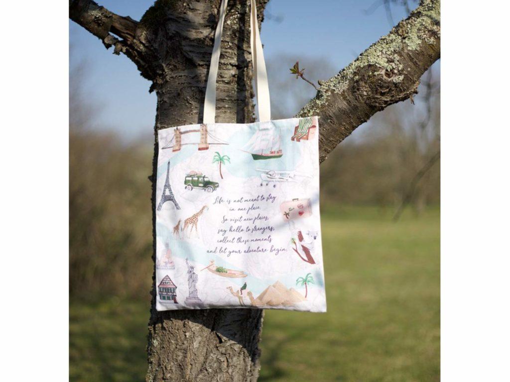 MALUU Shopping Bag Baumwolle, Motiv Travel, outdoor