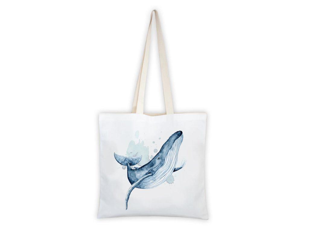 MALUU Shopping Bag Baumwolle, Motiv Buckelwal