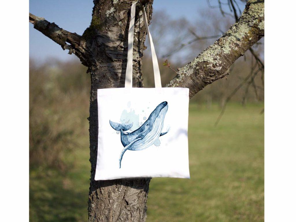 MALUU Shopping Bag Baumwolle, Motiv Buckelwal, outdoor