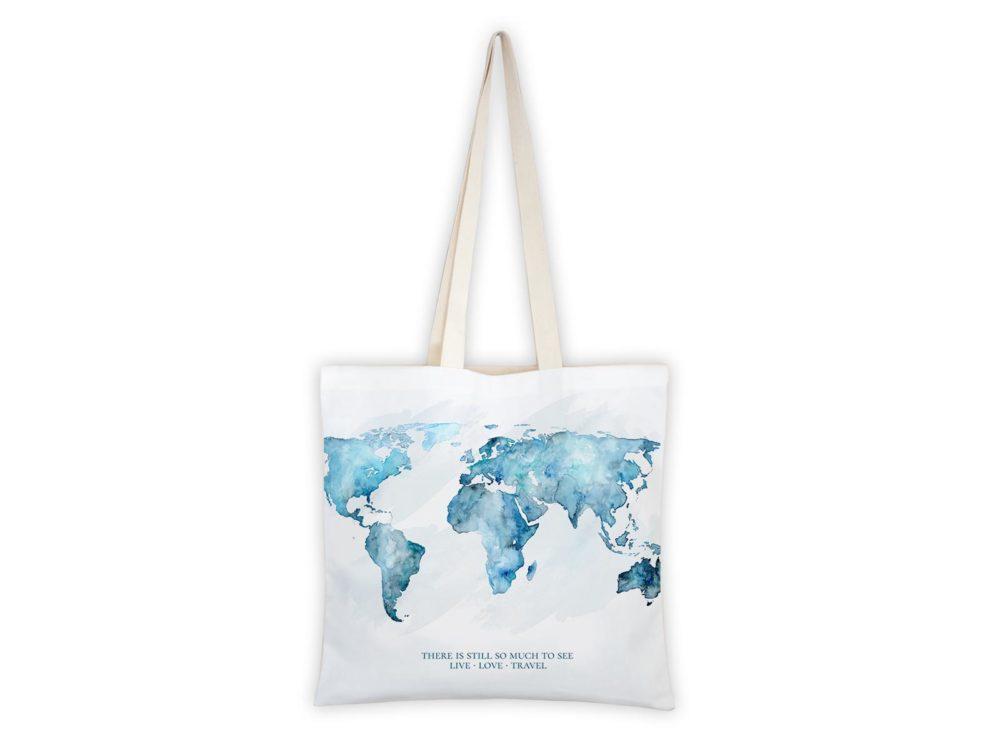 MALUU Shopping Bag Baumwolle, Motiv Weltkarte blau