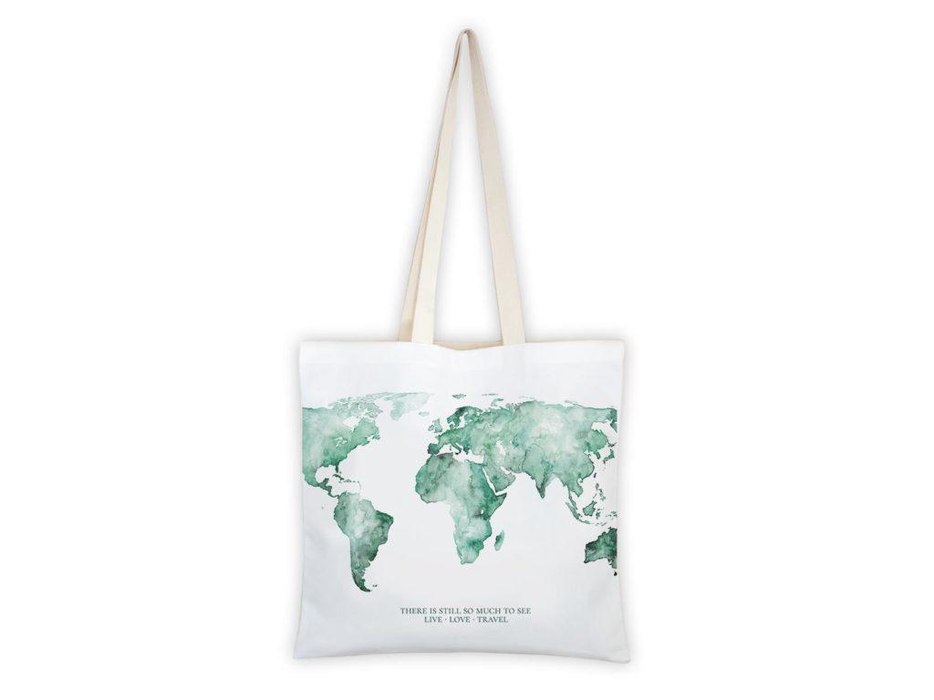 MALUU Shopping Bag Baumwolle, Motiv Weltkarte grün