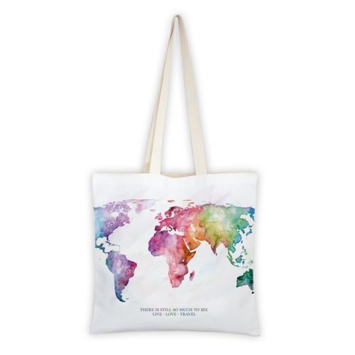 MALUU Shopping Bag Baumwolle, Motiv Weltkarte rainbow