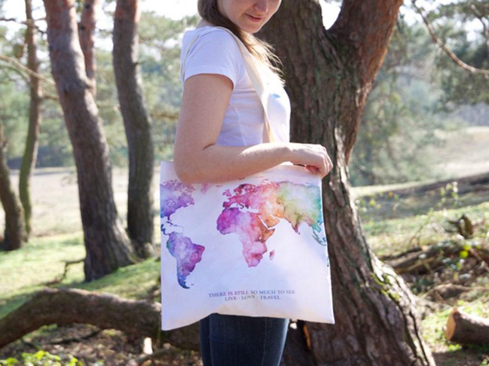 MALUU Shopping Bag Baumwolle, Motiv Weltkarte rainbow, outdoor